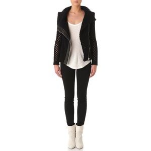 Iro Noa Open Knit Moto Perforated Jacket Leather